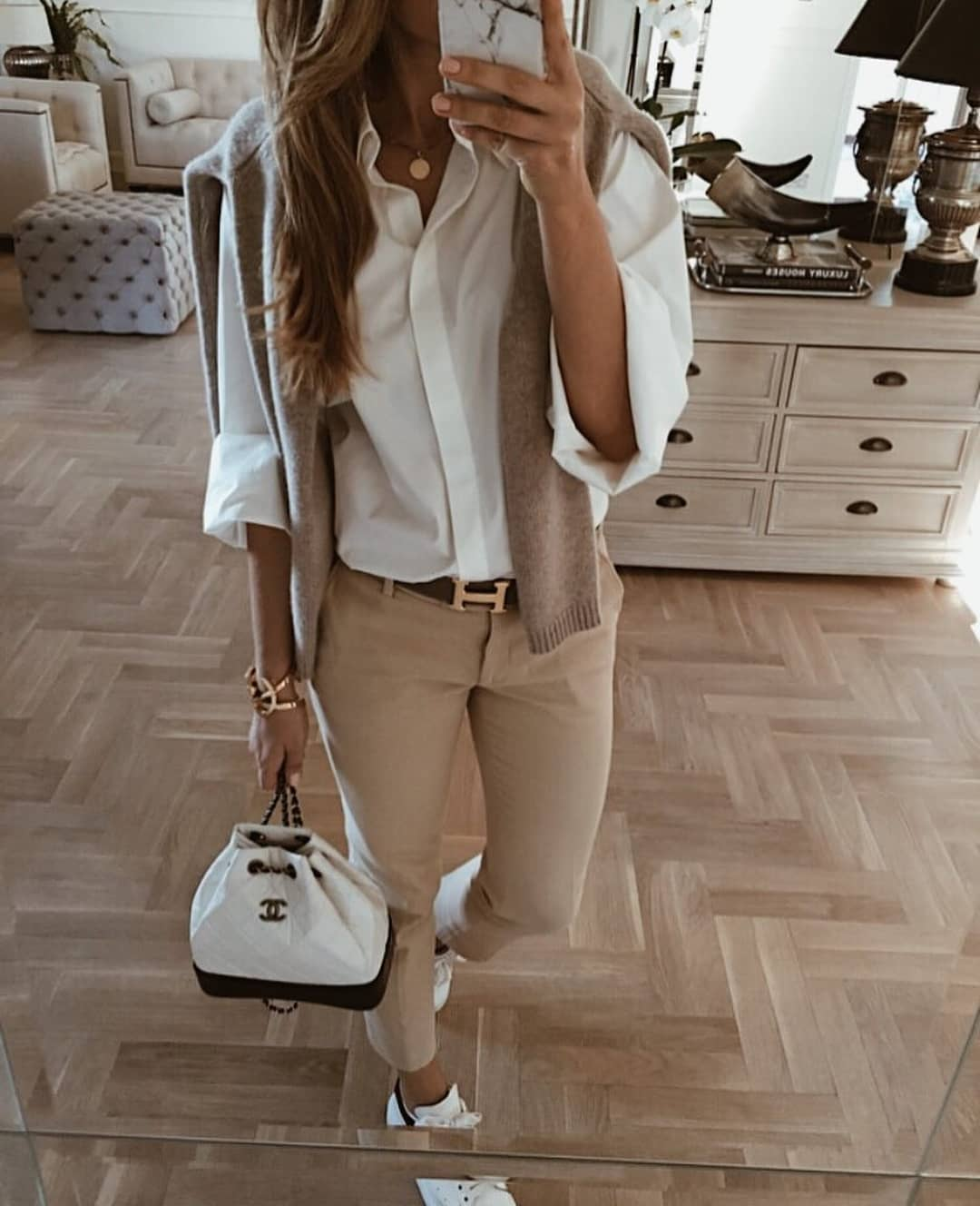 Summer Essentials: Beige Sweater, White Shirt And Beige Pants 2019