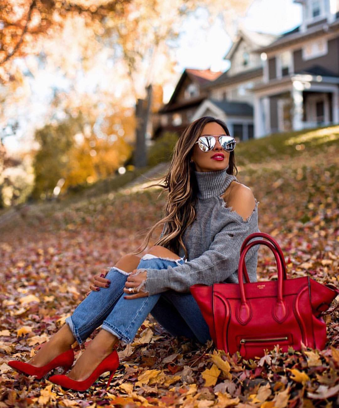 Cold Shoulder Turtleneck With Knee Ripped Jeans And Red Heels For Fall 2019