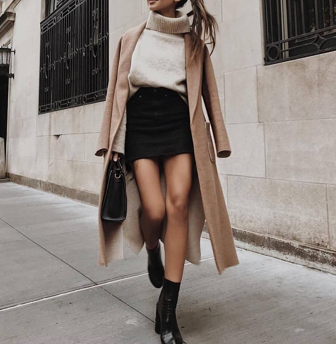 Easy To Wear Fall Combination: Camel Coat And Black Denim Skirt 2020