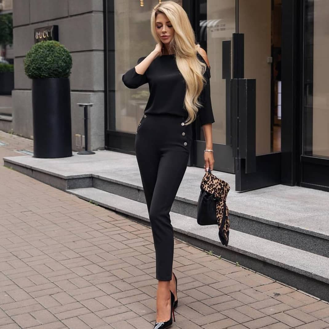 All Black OOTD: Silken Top And Slim Pants With Gold Buttons For Fall 2019