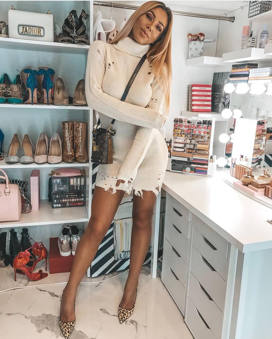 Cream White Turtleneck Sweater Dress And Leopard Print Pumps For Fall 2021