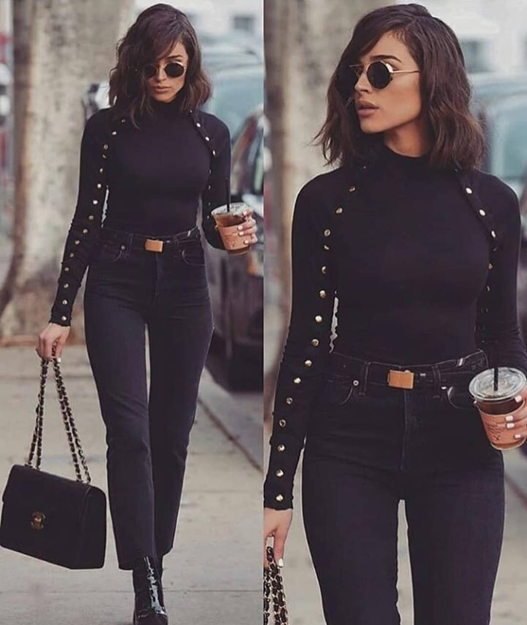All Black 1970 Style Look: Sweater With Gold Buttons, Jeans And Patent Boots 2019