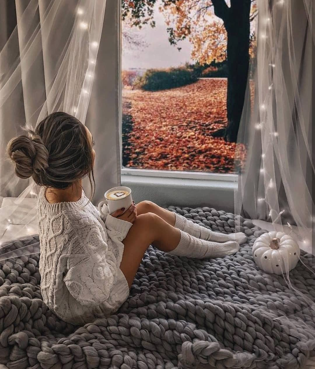 Homewear Essentials For Fall: Sweater Dress And Matching High Socks 2020
