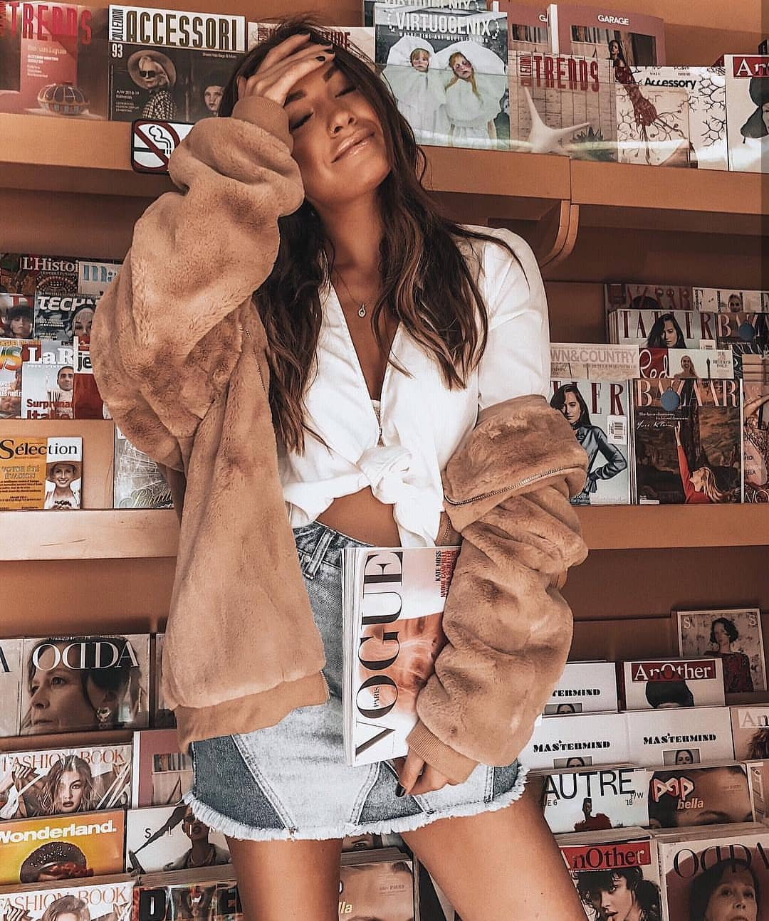 Teddy Bear Jacket With White Front Tie Shirt And Patchwork Denim Skirt For Spring 2021