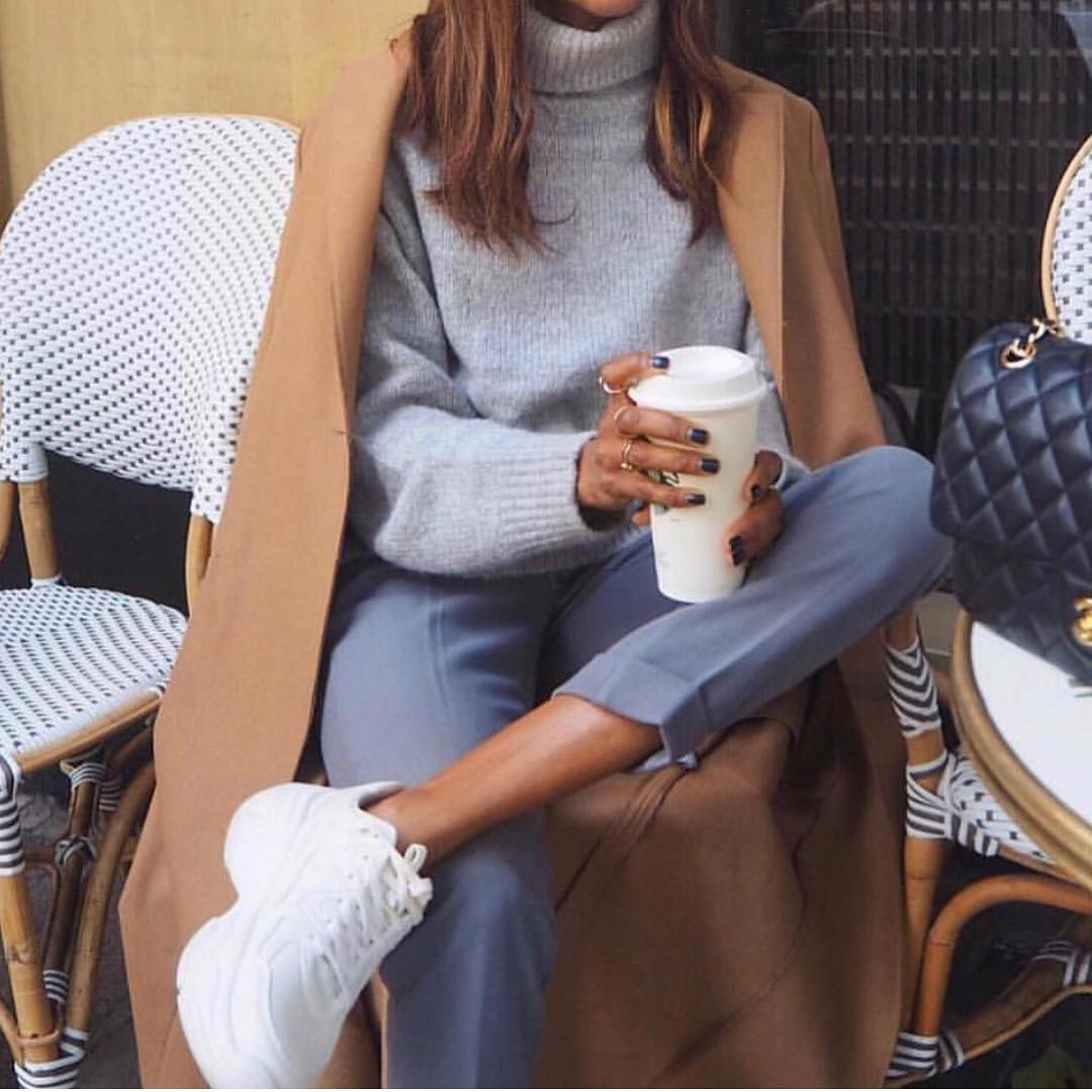 Camel Coat With Grey Turtleneck Sweater And Grey-Blue Pants With White Kicks 2019