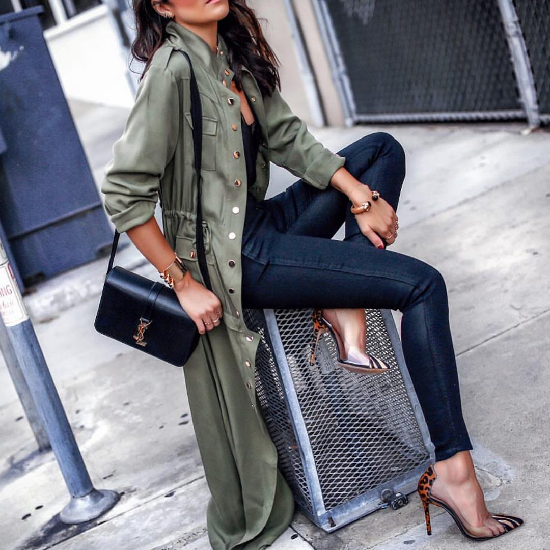 How To Wear Maxi Green Trench Coat This Spring 2019