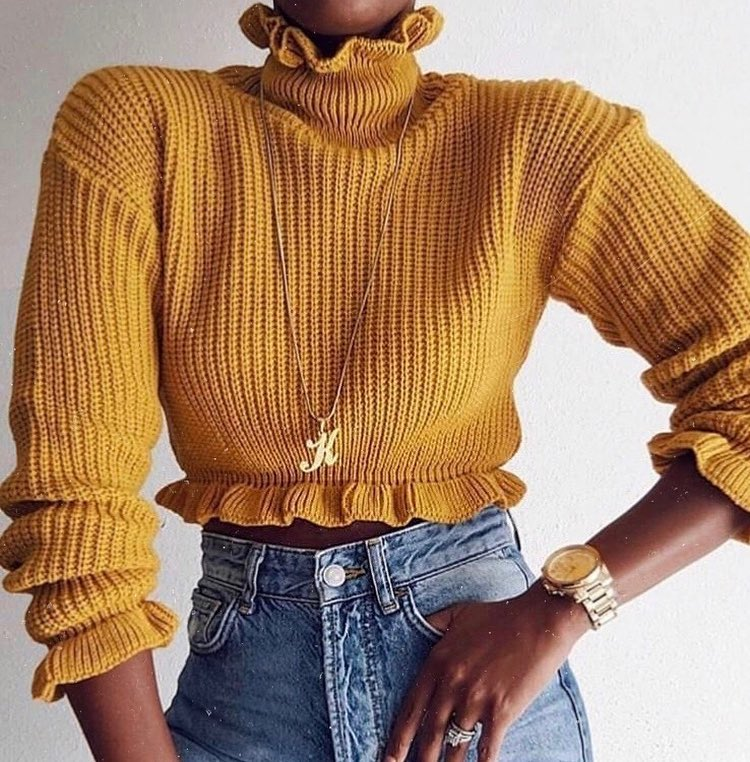 How To Wear Mustard Yellow Ruffled Sweater This Spring 2020