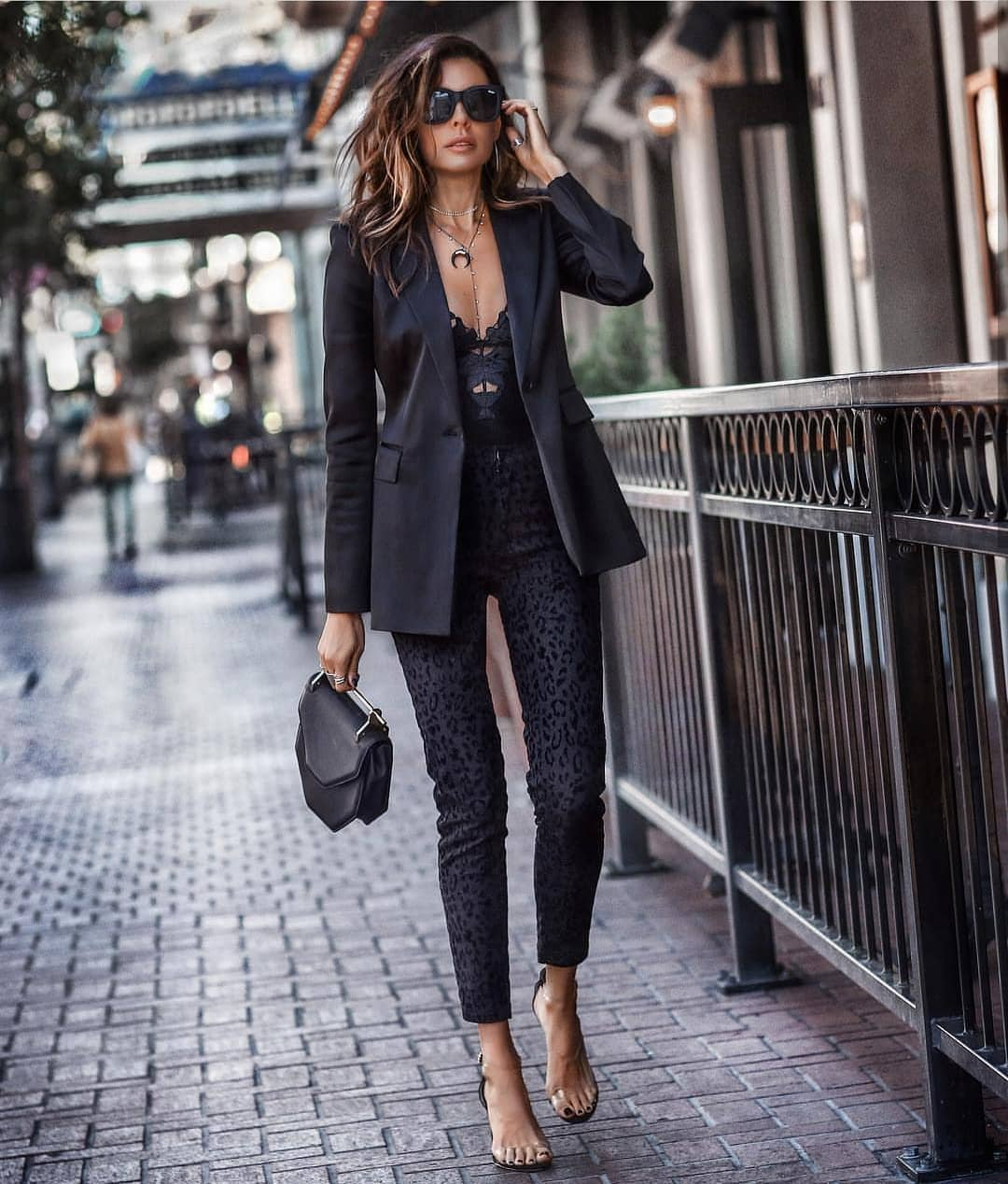 Black Blazer With Black Bodysuit And Leopard Print Black Pants For Fall 2020