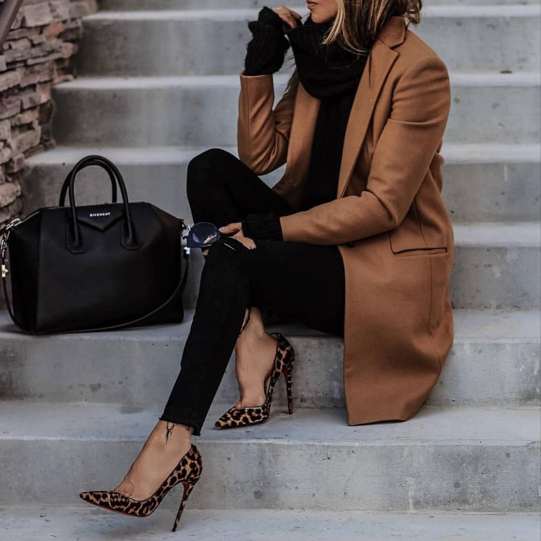 How To Wear Camel Coat With Leopard Print Heels 2019
