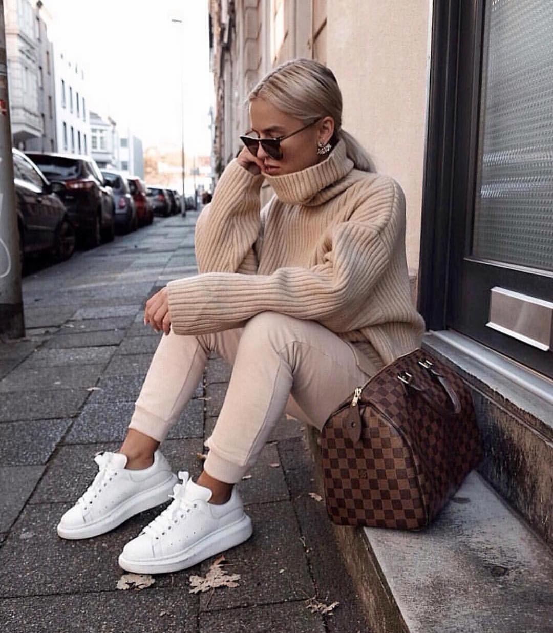 Oversized Cream Ribbed Knit Sweater And Matching Joggers For Spring 2019