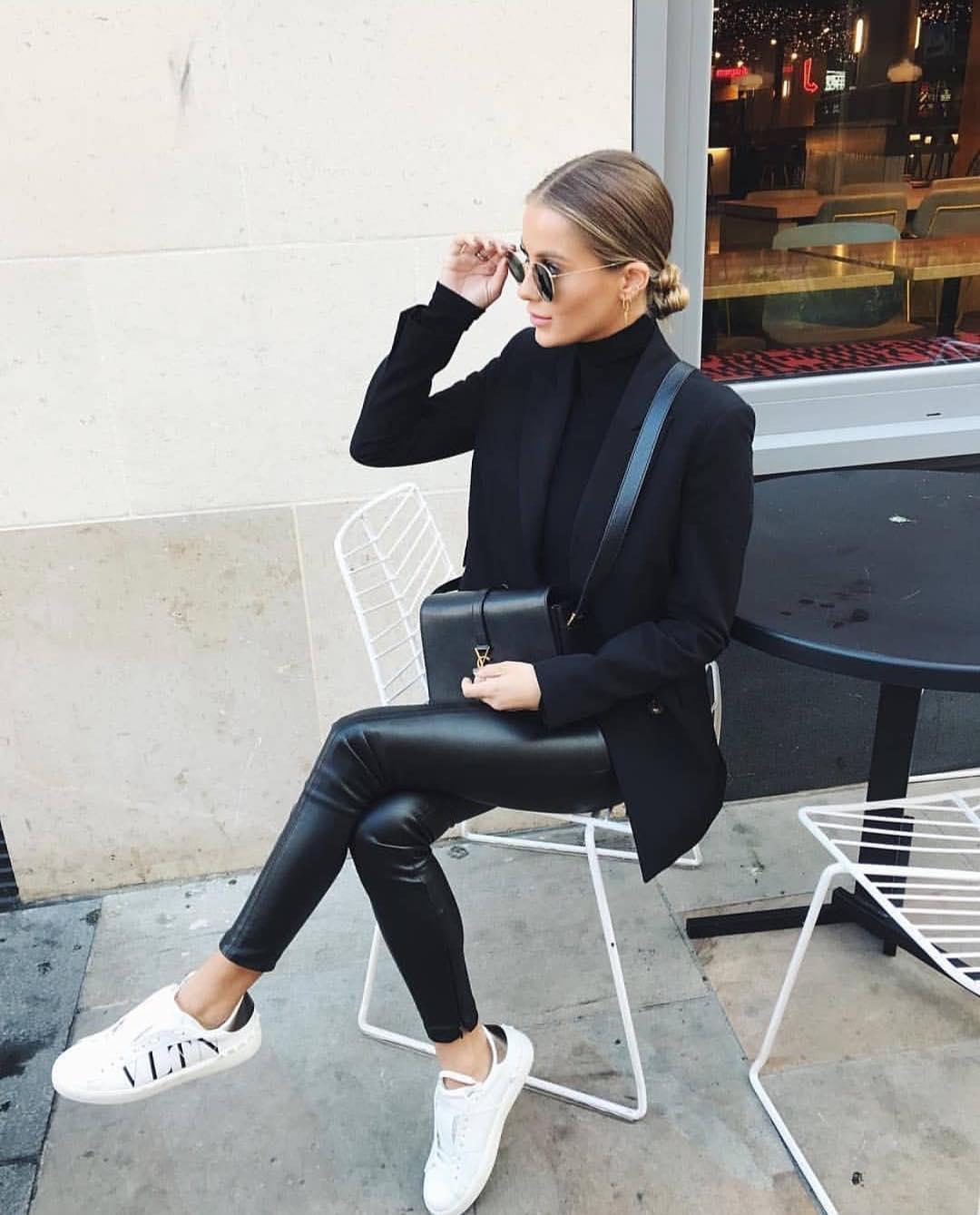 How To Wear Black Leather Pants With White Sneakers 2019