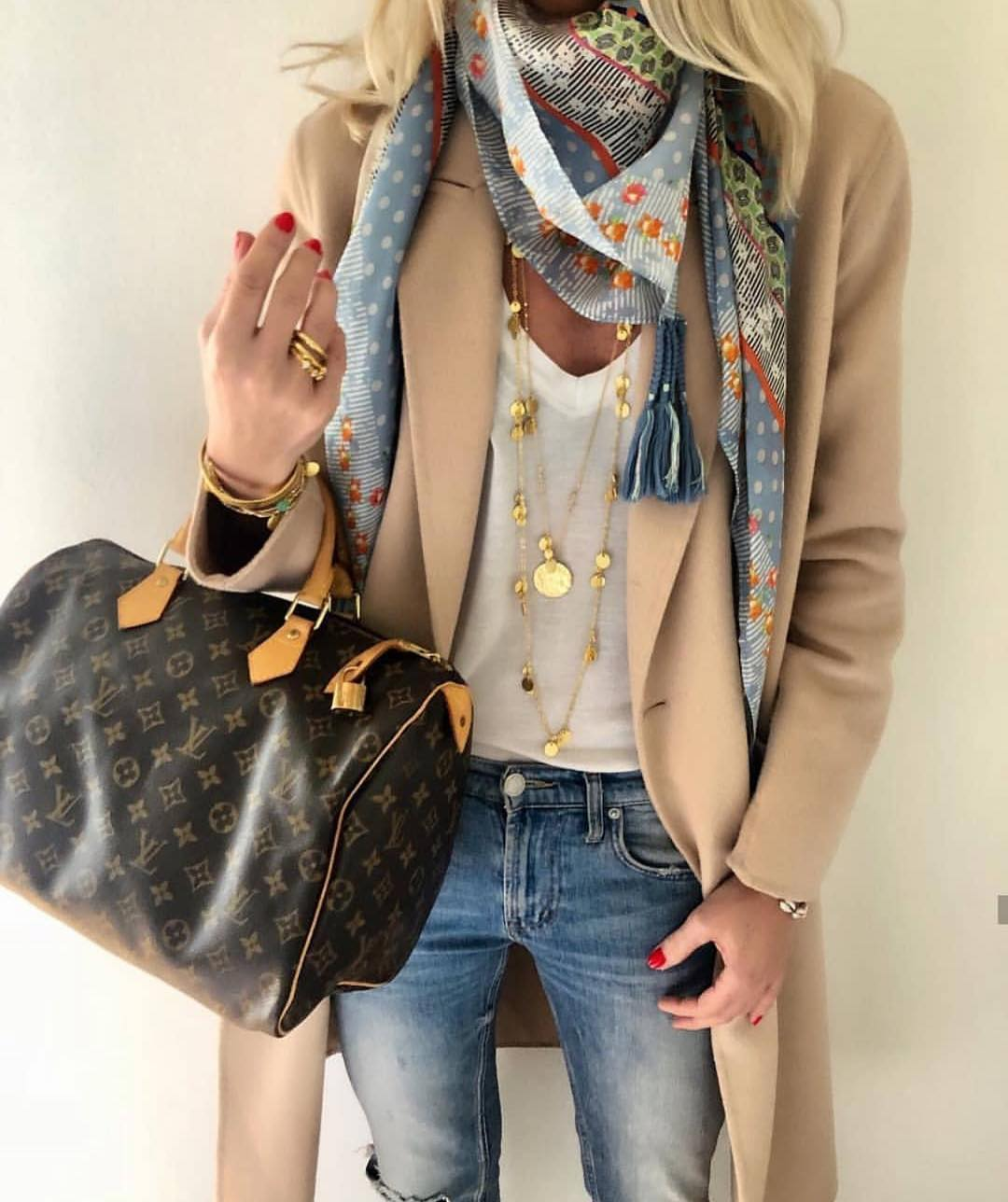 How To Wear Cream Beige Coat With Layered Necklaces And Printed Neck Scarf 2019