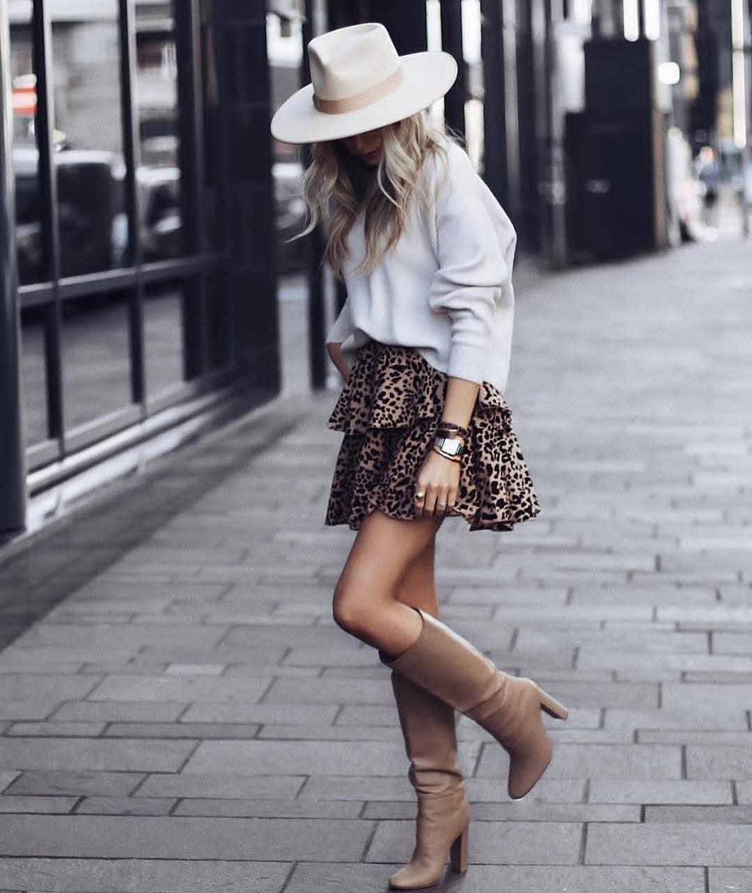 Fall Essentials: Sweater And Leopard Print Flared Skirt With Slouchy Boots 2020