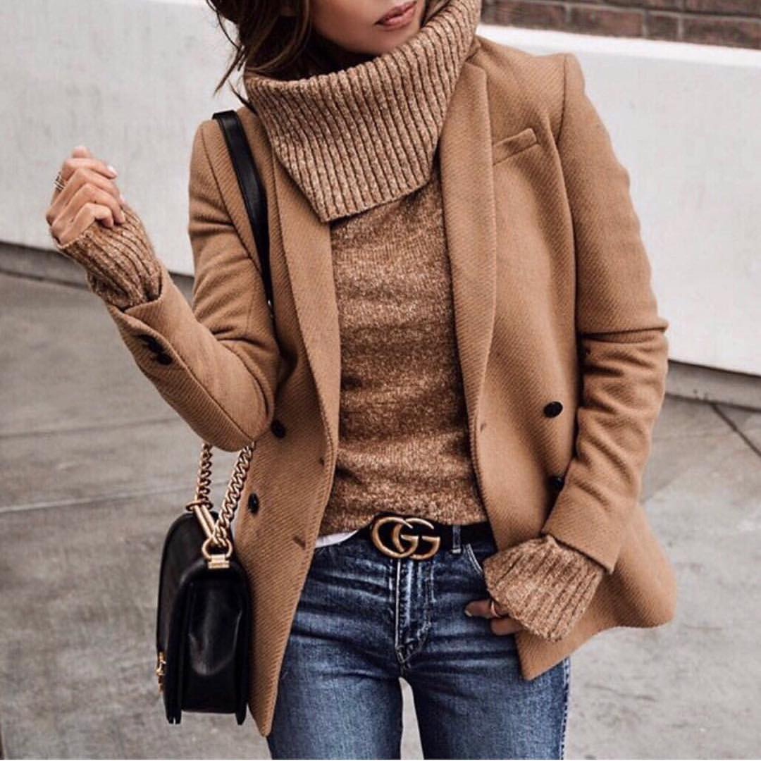 Can I Wear Camel Blazer With Camel Turtleneck Sweater This Fall 2019