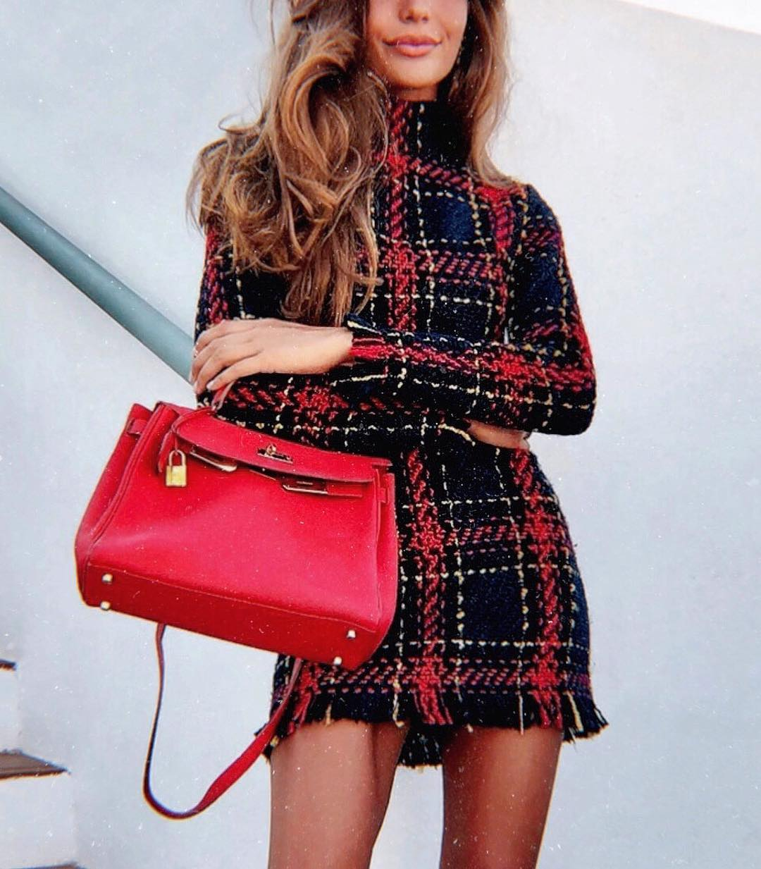 Plaid Sweater Dress And Red Leather Bag For Casual Friday 2019
