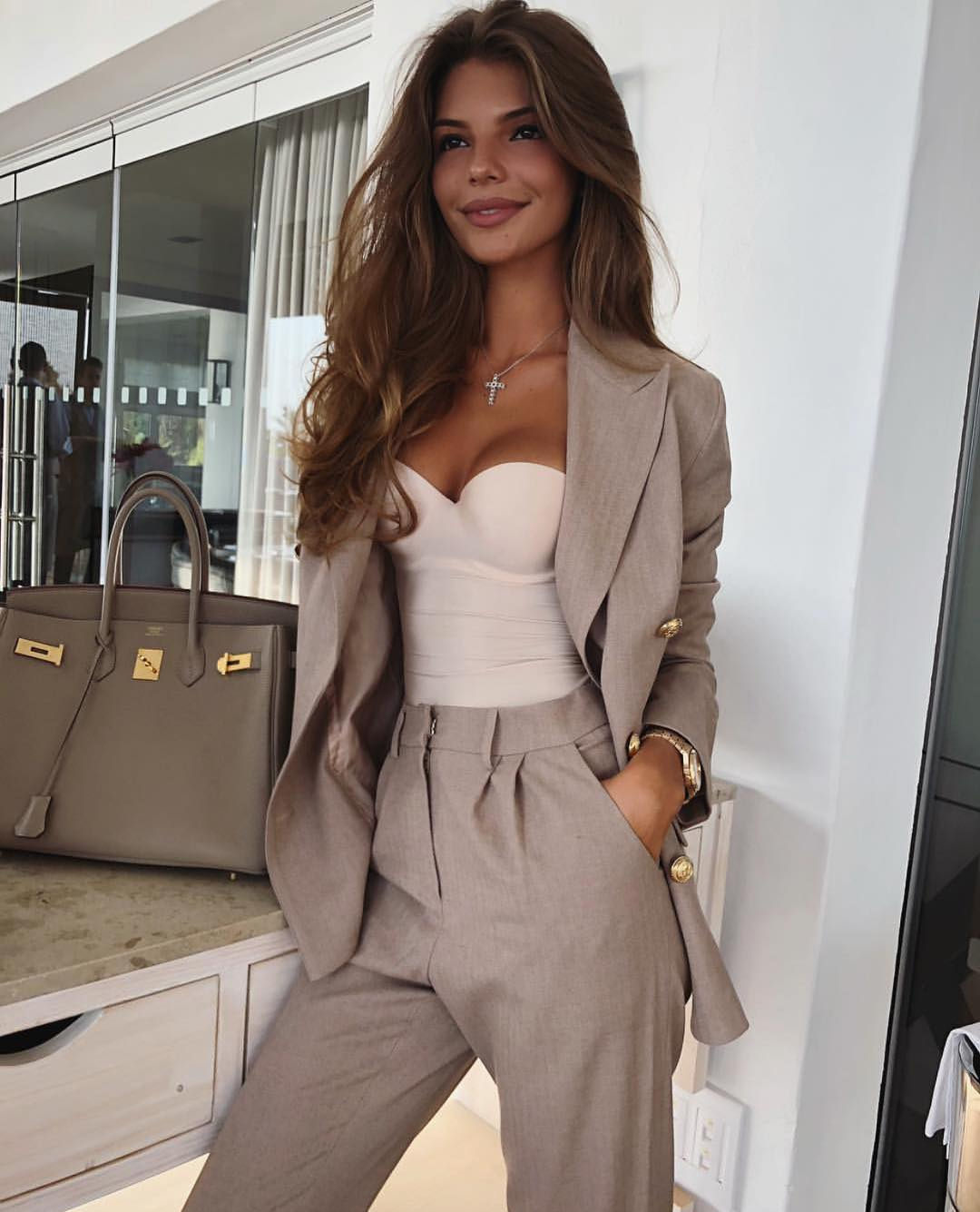 Cream Grey Pantsuit And White Strapless Bodysuit For Fall Office Hours 2020
