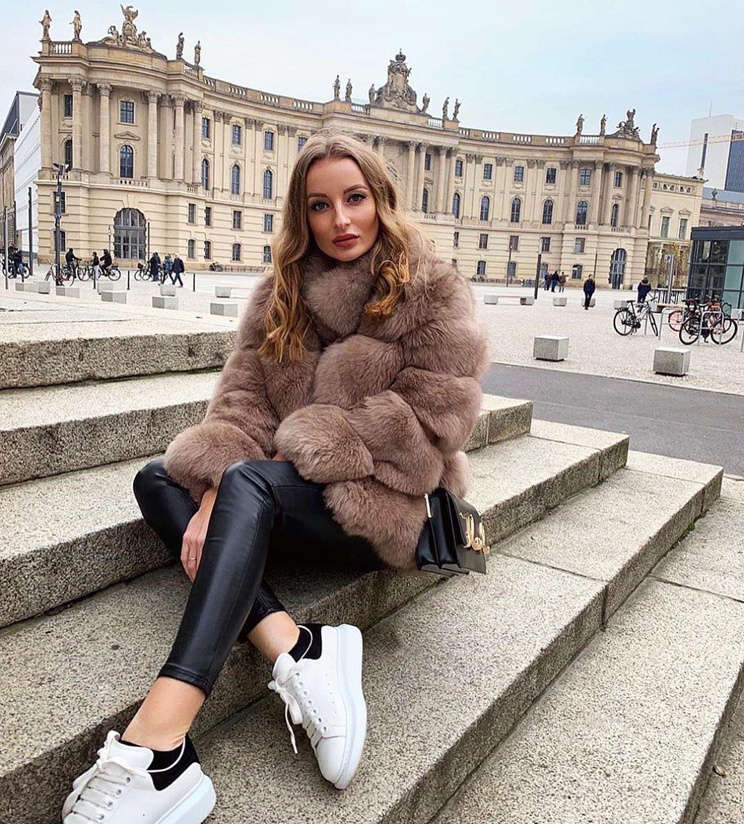 Can I Wear Fur Coat With Black Leather Pants And White Sneakers This Fall 2020