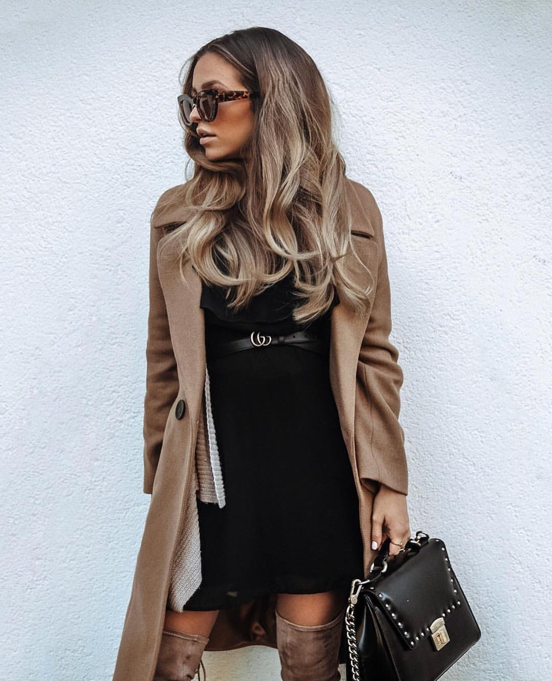 Camel Coat And LBD With OTK Boots For Autumn 2019