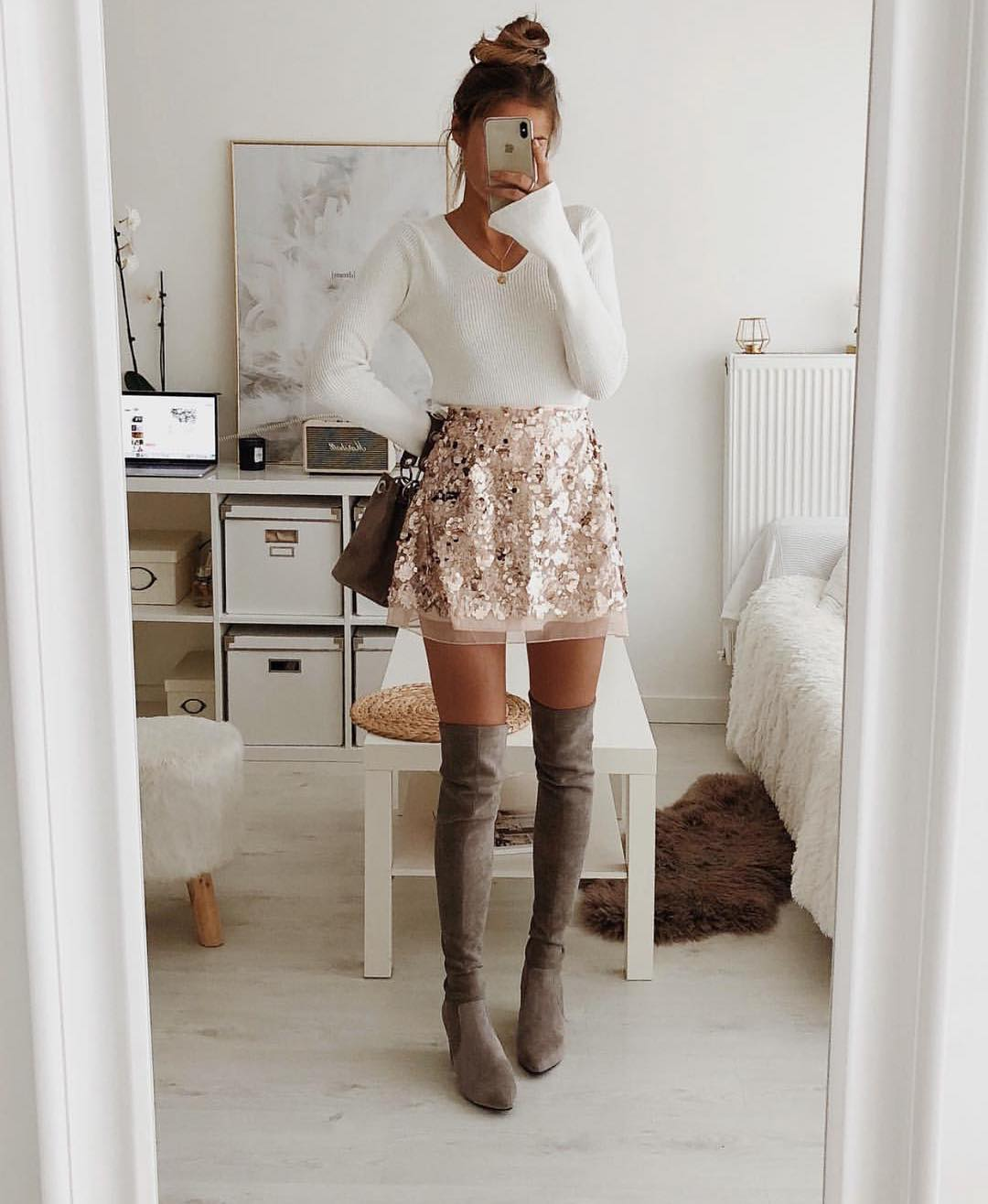 Can I Wear Gold Sequined Skirt With Grey OTK Boots This Fall 2019