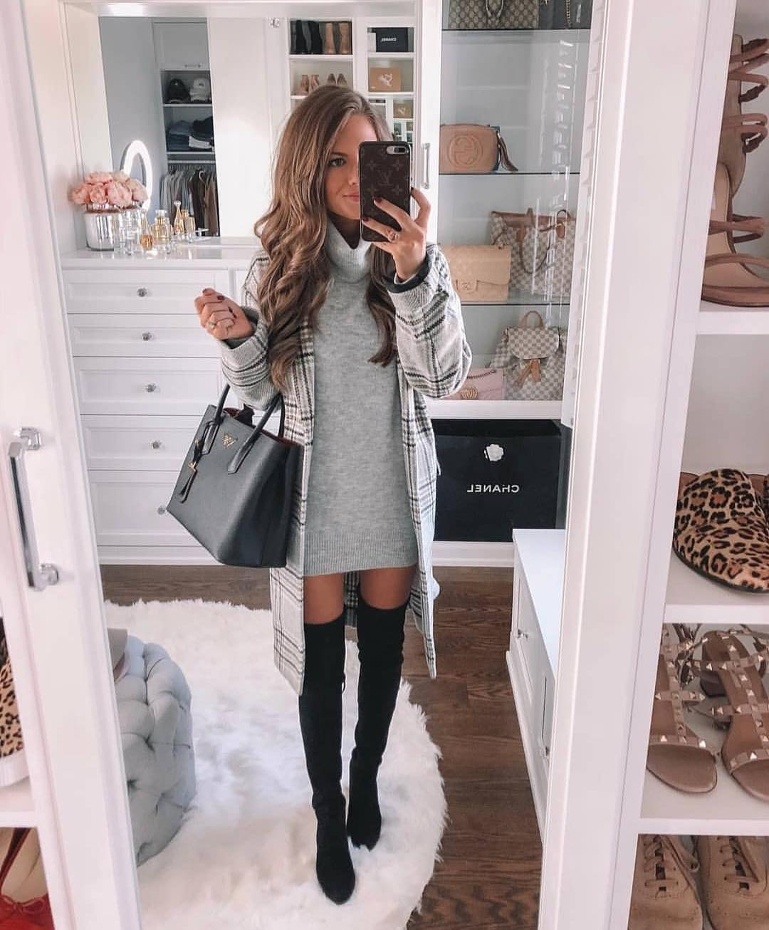 Sweater Dress With Plaid Coat And OTK Boots In Black: Fall Essentials 2019