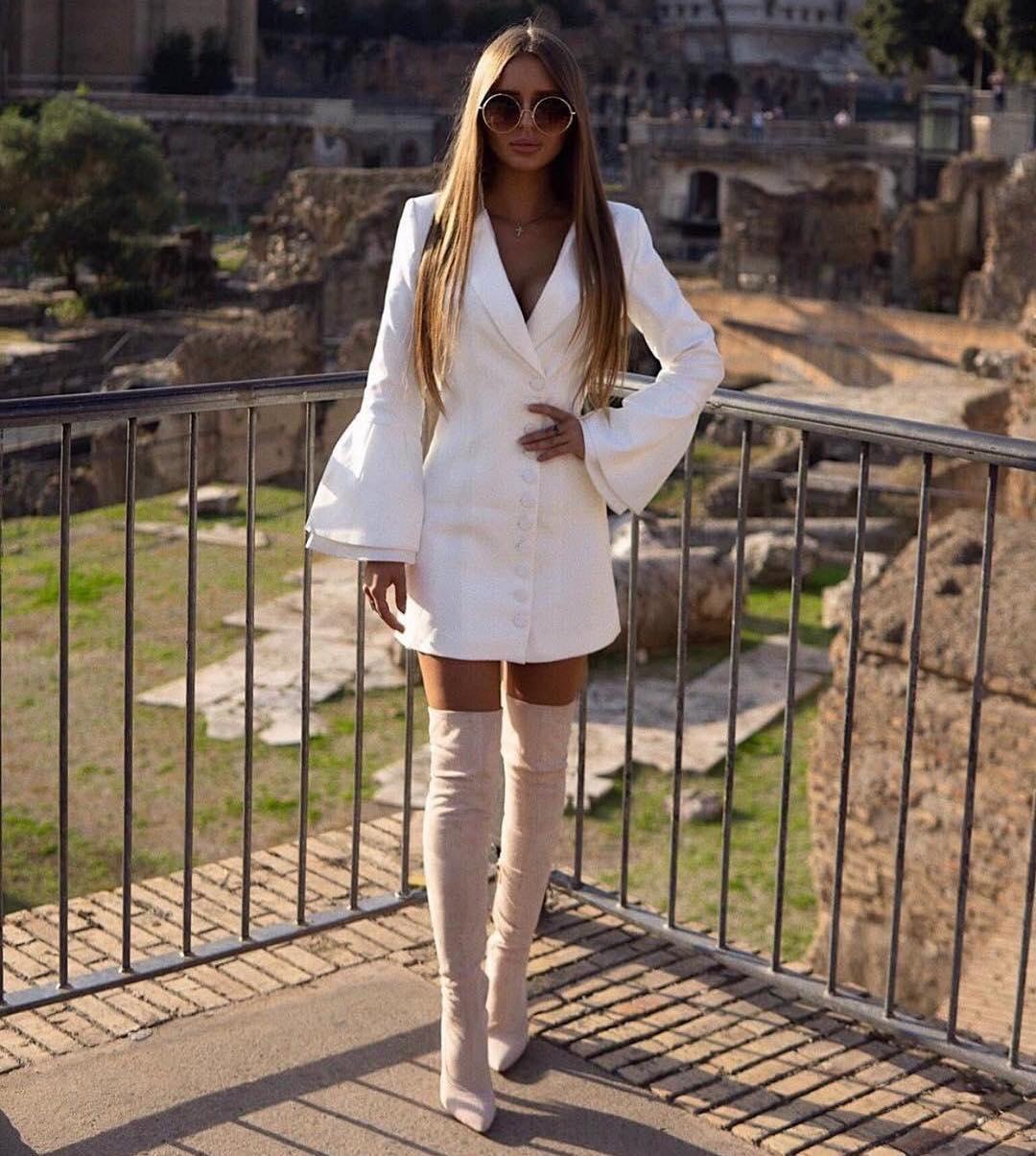 Bell Sleeve White Blazer Dress And Beige OTK Boots 2020
