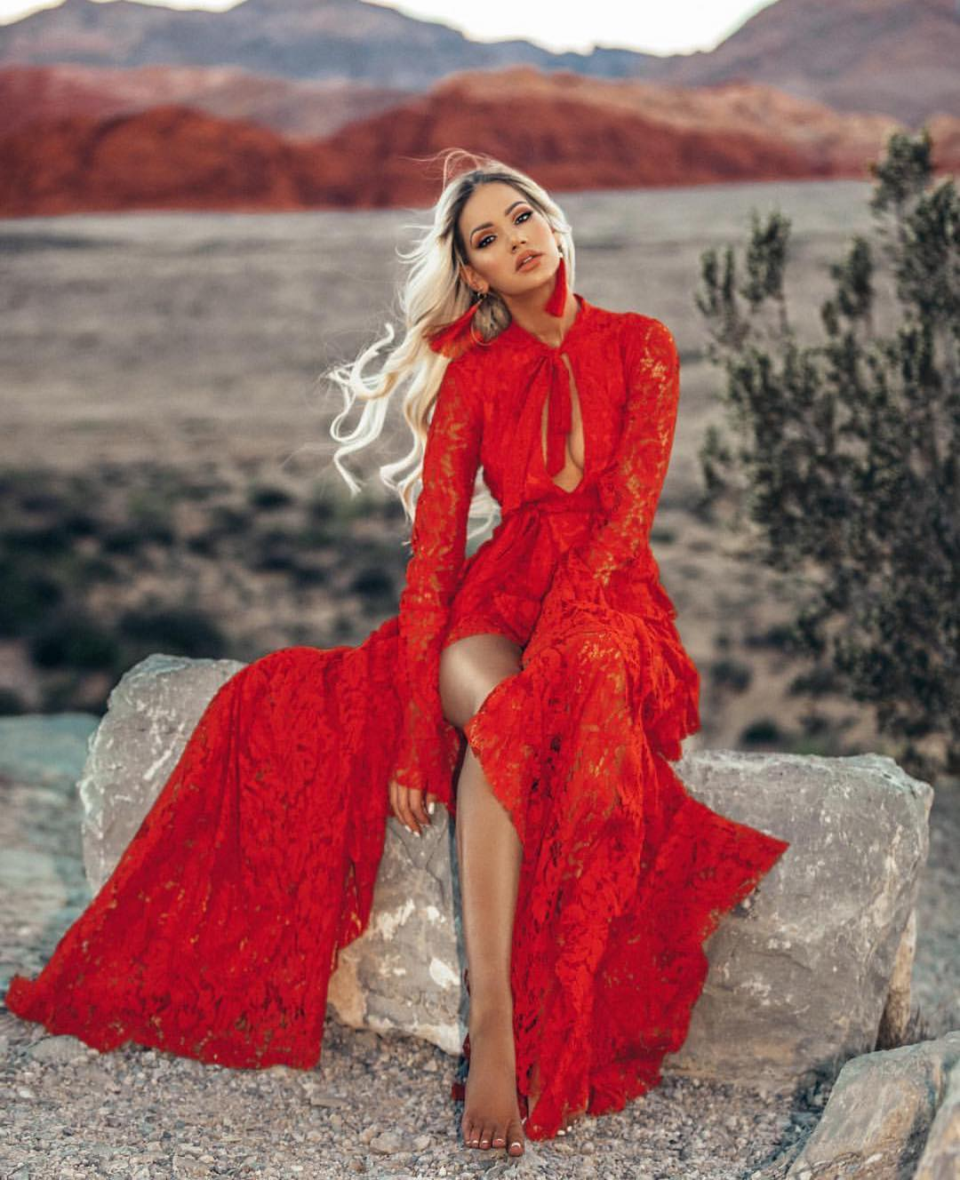 Red Maxi Lace Dress With Deep Cleavage And High Slit For Summer Vacation 2019