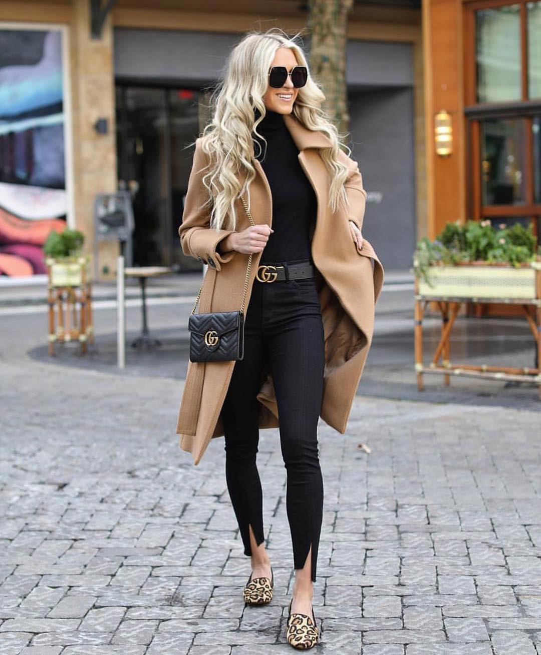 Camel Coat And Leopard Print Loafers Combo 2019