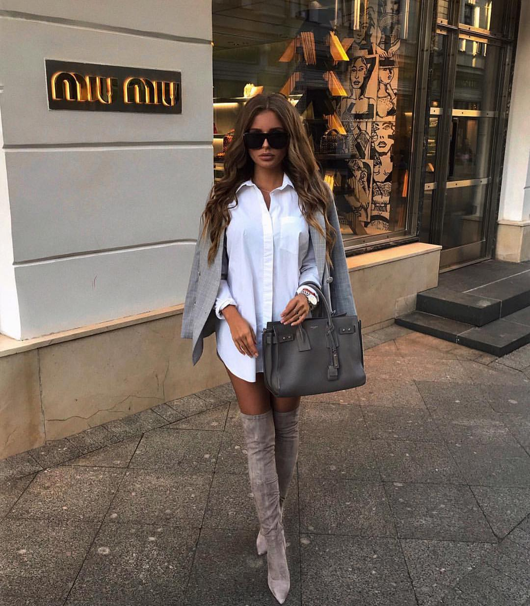 Oversized White Shirt Worn As Dress With Grey Blazer And OTK Boots 2019
