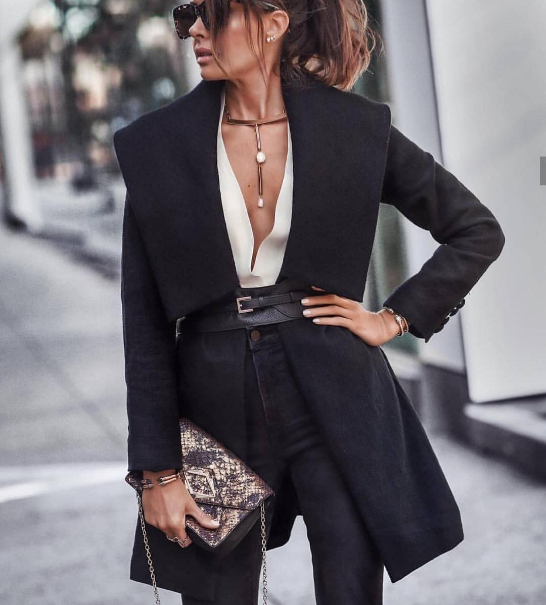 Wrap Belted Coat In Black And Black Jeans For Autumn 2019