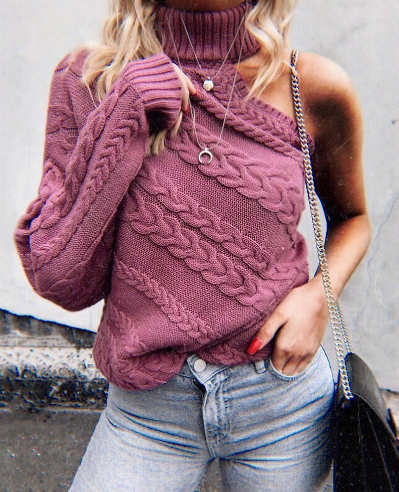 One Sleeve Turtleneck Sweater In Pink For Fall 2019