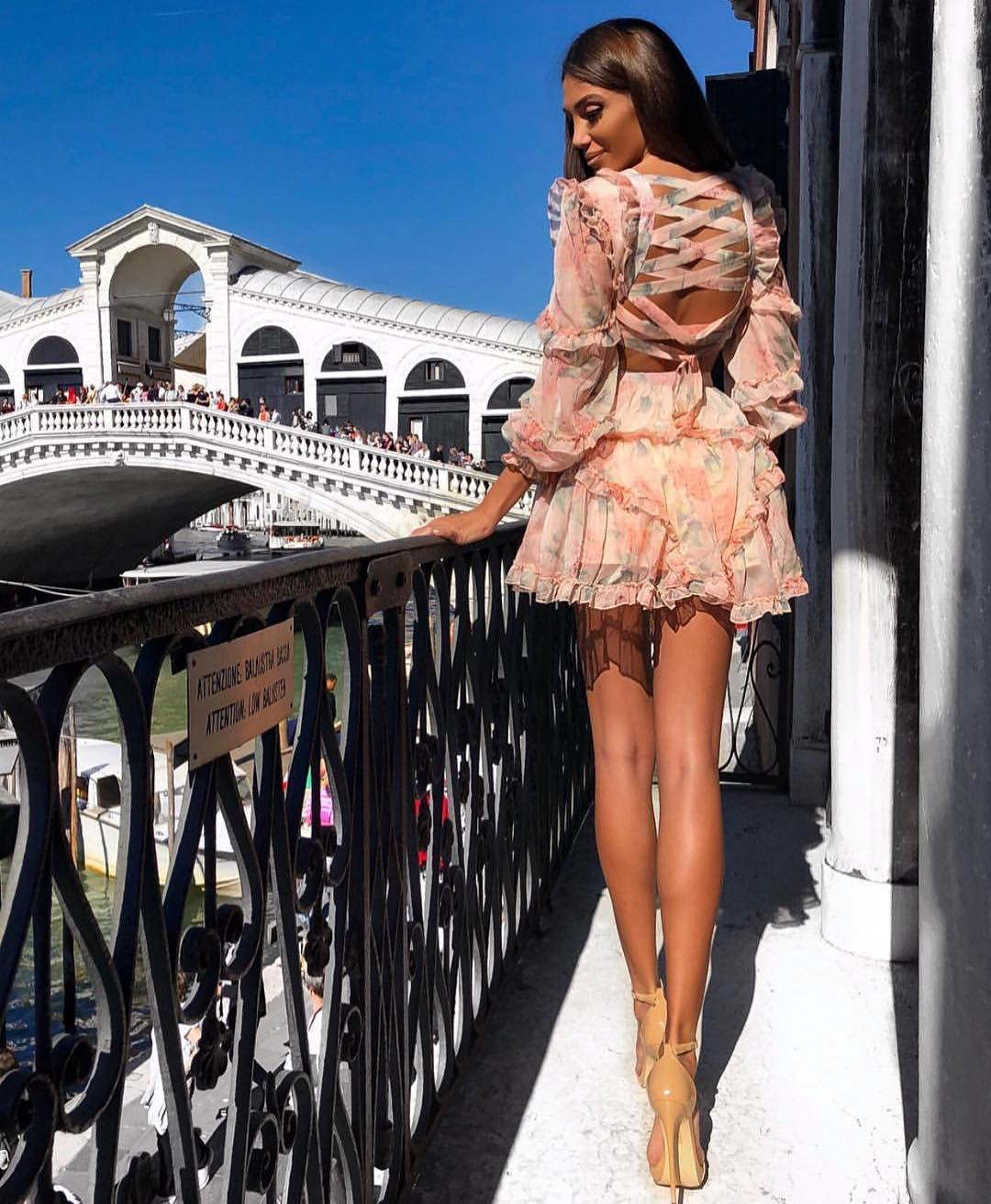 Pastel Floral Mini Dress With Ruffles And Lace Up Back For Summer Vacation 2020