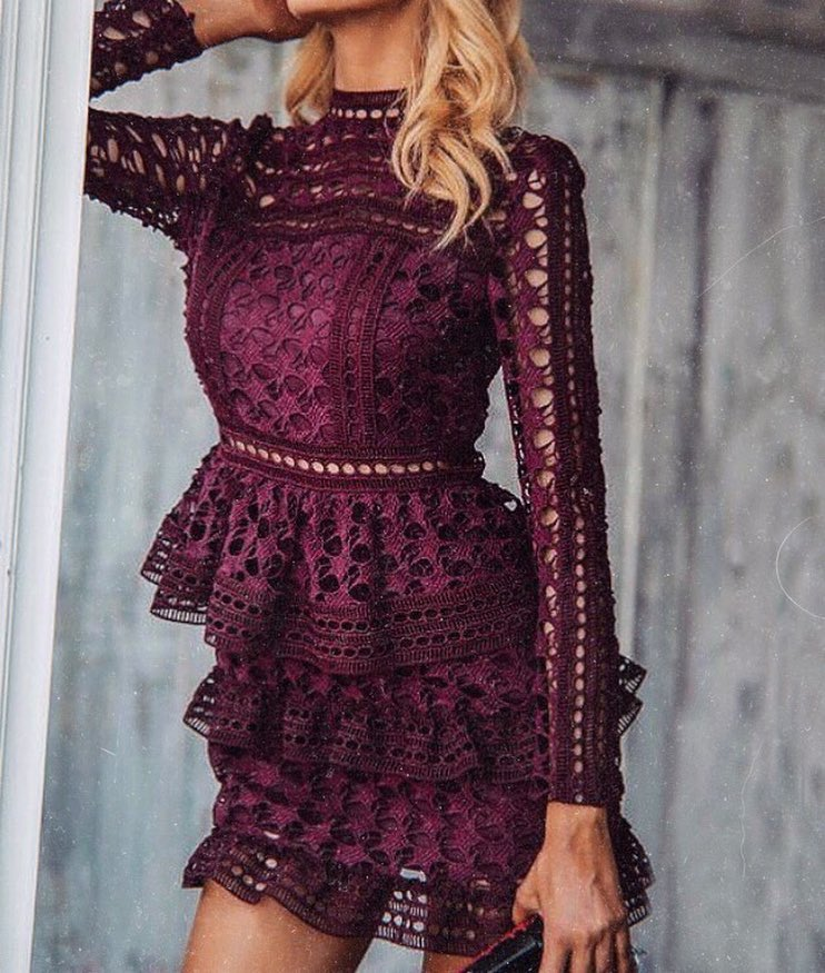 Dark Maroon Crochet Dress With Ruffle Skirt For Fall 2019