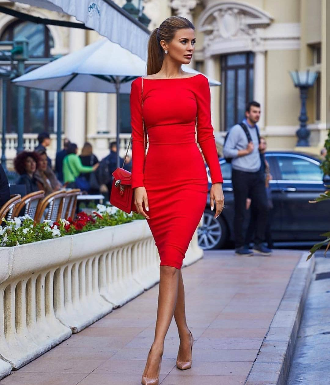Boatneck Red Slim Dress With Long Sleeves For Fall 2019