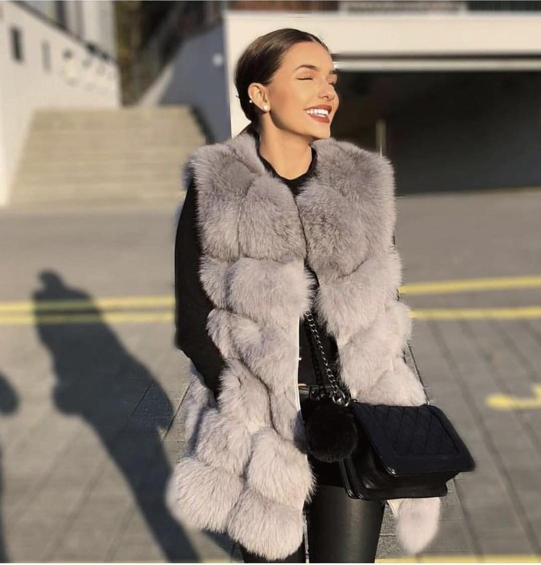 Sleeveless Fur Vest In Grey With Black Sweater And Black Leather Pants 2019