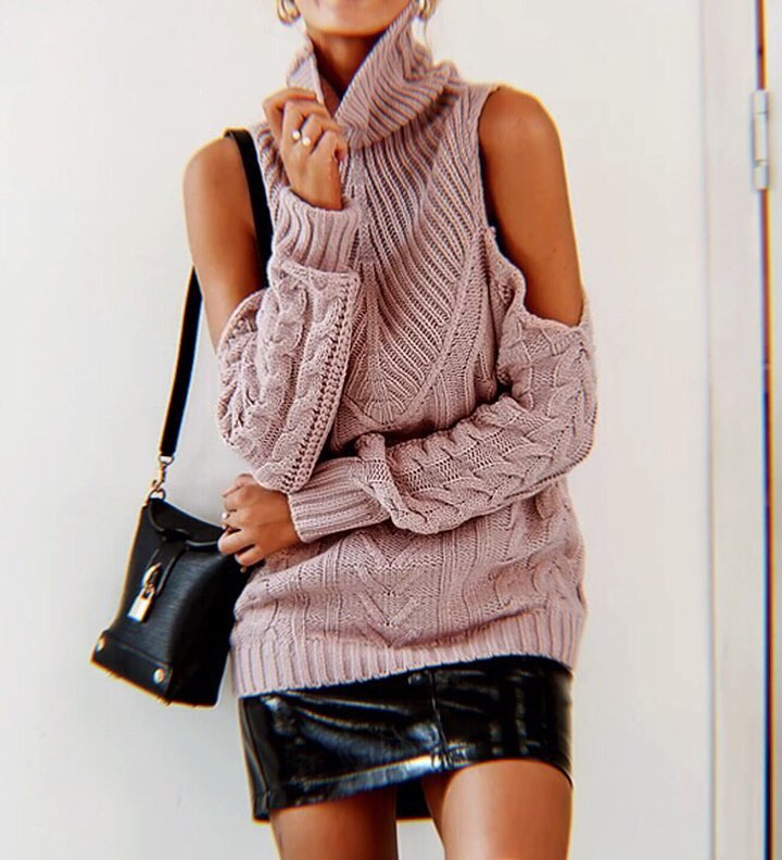 Can I Wear Cold Shoulder Cable Knit Pink Sweater And Glossy Black Leather Mini Skirt 2020