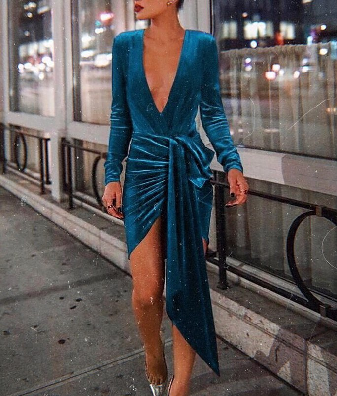 Deep V-neck Velour Dark Turquoise Dress For Cocktail Parties 2020