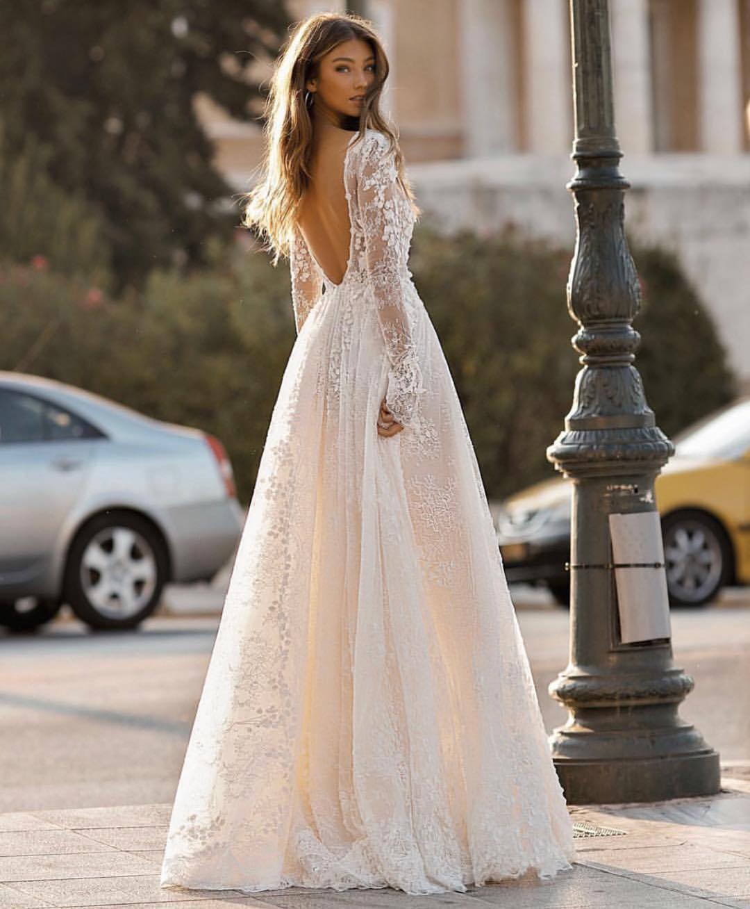 Open Back White Lace Wedding Gown For Summer 2020