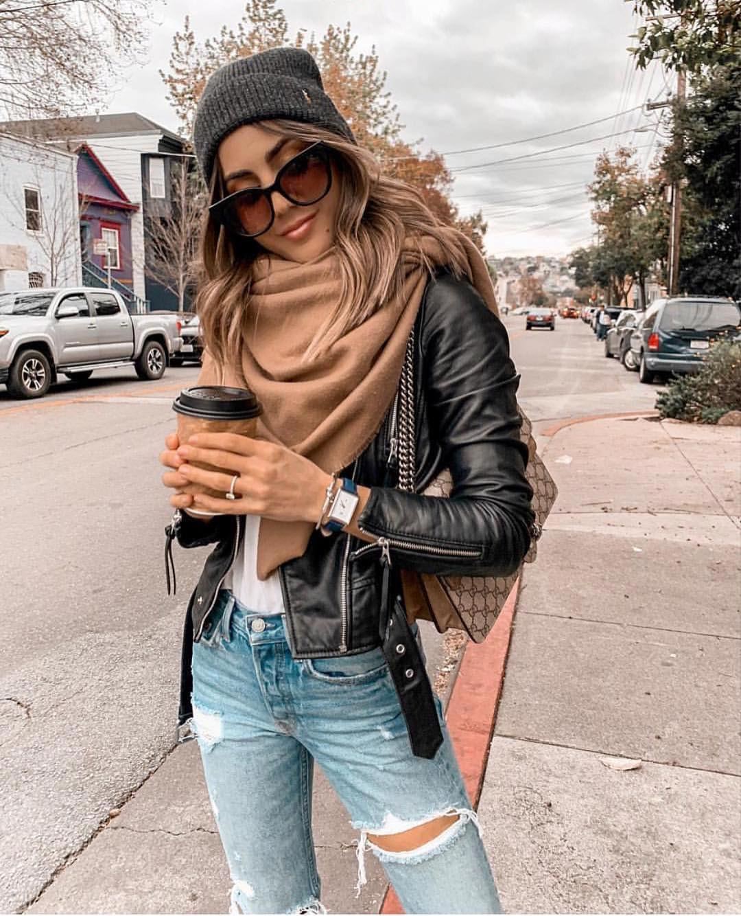 How To Wear Camel Scarf With Black Leather Jacket 2019