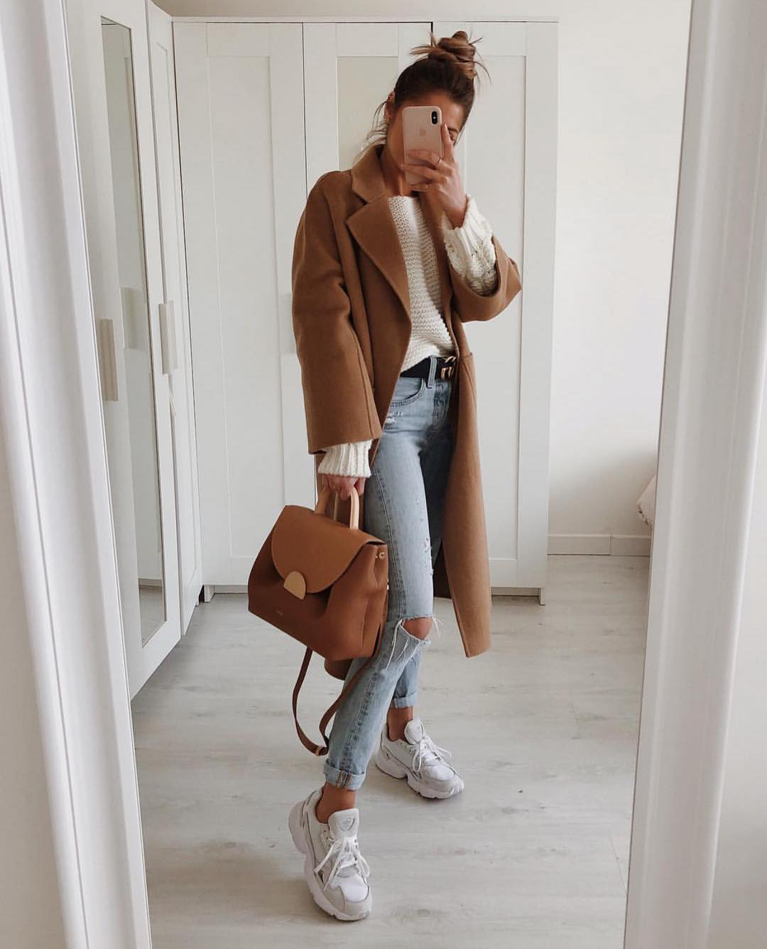 How To Wear Camel Coat With Knee Ripped Jeans This Spring 2019