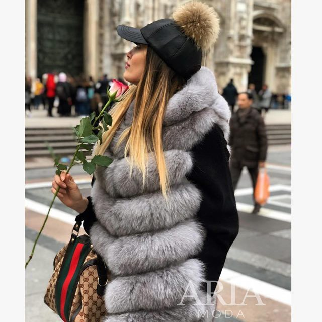 Grey Fur Vest And Black Baseball Cap With Fur Pom Pom 2019