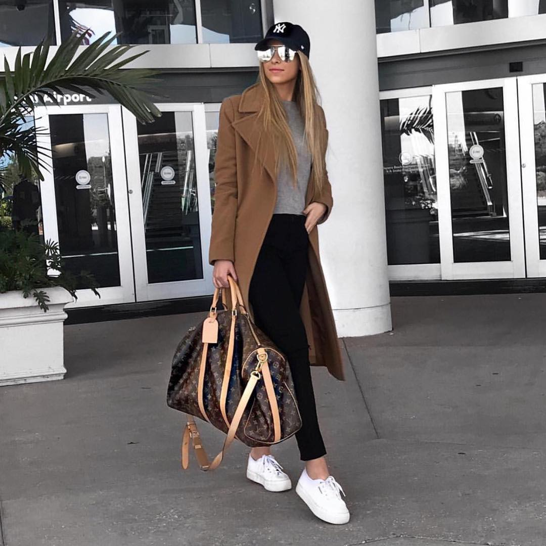How To Wear Camel Coat With White Sneakers This Spring 2019